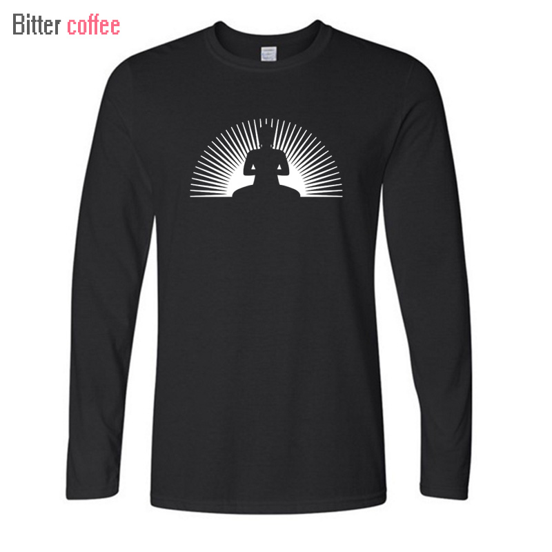 BITTER COFFEE 2017 Men O-neck Print Long Sleeve t Shirt Punk Buddha SUN Men Leisure time Tops & Tees T shirt